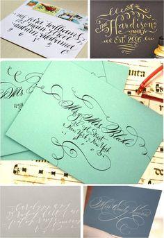 wedding calligraphy, gold calligraphy, wedding envelopes, swirly calligraphy, diy calligraphy