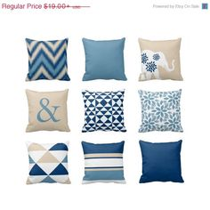SALE Throw Pillow Blue Beige Pillow Couch by HLBhomedesigns
