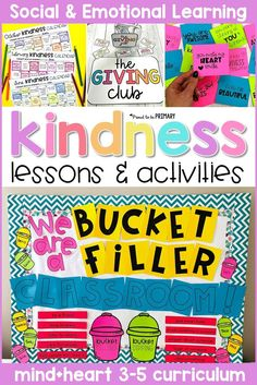 Kindness lessons and activities for kids that are perfect for the grade 3-5 classroom. Teach kids about gratitude, generosity, and kindness with engaging, hands-on activities and valuable discussions. Create a bucket filler system and have random acts of kindness challenges. #kindness #socialemotionallearning #socialskills #kindnesschallenge #bucketfiller
