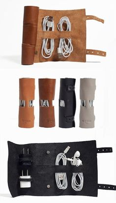 Cordito Leather Cord Wrap - Organize your cords and iPhone / iPod headphones, charger and other accessories! by Nat scavone Groomsmen Gifts Unique, Unique Gifts For Men, Groomsman Gifts, Gifts For Him, Diy For Men, Leather Accessories, Travel Accessories, Men Accessories Man Stuff, Iphone Accessories
