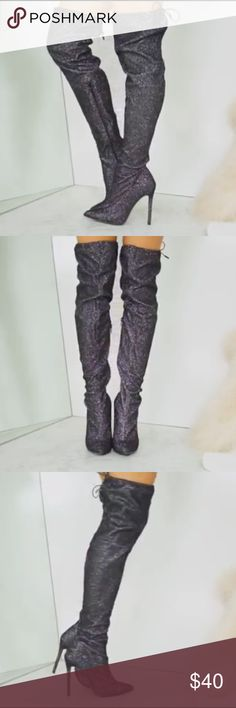 """NEW AKIRA Black Glitter Shimmer Stiletto Boots 7.5 Brand new, never worn! No box. AKIRA size 7.5.   The AKIRA Star Sign Thigh High Boots have pointed toes, high stiletto heels, and thigh high zip-up shafts that stretch at the top and pull up over your knees, made from black textile decorated in glittering sparkles that look like stars.  Rubber sole 4.5"""" heel height 16.5"""" shaft circumference (stretches) 22.5"""" shaft height Regular fit zip-up shaft stretches at the top  High stiletto heel…"""