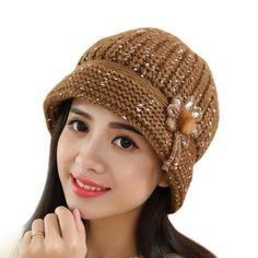 30dda0f5cb9 Crochet Knitted Beanie Hats Lady Skullies Turban Warm Headgear
