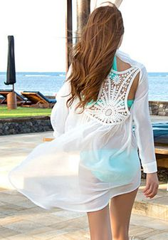 Crochet Cutout Back Blouse