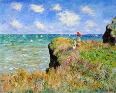 Clifftop Walk at Pourville, 1882 by Claude Monet (1840-1926, France)  #ClifftopWalkAtPourville by #ClaudeMonet #PaintingsOfNature