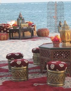 Those brass base Moroccan poufs are insanely beautiful! Agadir, Morocco.