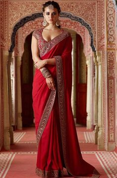 Rangoli Georgette Silk Saree in Maroon Color. Enhanced with Fency Thread, Hand Work, and Lace Border Work. Available with a Un-Stitched Banglori Silk With Fency Thread Work And Sequnce With Dori Work Blouse, Crafted in Round Neck and Short sleeves. Indian Bridal Outfits, Indian Bridal Fashion, Indian Designer Outfits, Dress Indian Style, Indian Dresses, Red Saree Wedding, Bridal Lehenga, Sari Dress, Dress Up