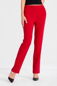 Red woven stretch crepe pants with centre back seams and a partial elastic waistband for... Off White, Centre, Ready To Wear, Pajama Pants, Blazer, Suits, Model, Red, How To Wear