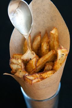 Eggplant Fries with a Drizzle of Honey: Best when hot and crispy!