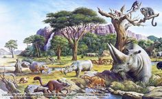 Various mammal species that existed during the Paleocene and Eocene epochs. Began: Cretaceous-Tertiary mass extinction 65 million years ago Ended: million years ago. Prehistoric Wildlife, Prehistoric World, Prehistoric Creatures, Wildlife Art, Extinct Animals, Zoology, Fauna, Natural History, Dark Fantasy