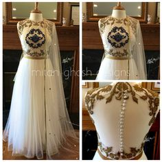 Silk and net dress with heavy embroidery.