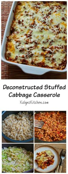This Deconstructed Stuffed Cabbage Casserole is a delicious family-friendly dinner without all the fuss of making cabbage rolls. [from KalynsKitchen.com] #BackToSchool #FamilyDinner