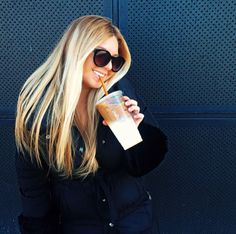This is me every day! Long hair, sunglasses and my iced coffee :)