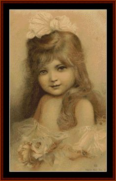 VP-108 - Young Girl - Vintage Posters - Cross Stitch Collectibles