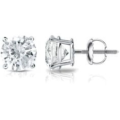 Auriya Platinum 1/3ct TDW 4-Prong Screw-Back Round Diamond Stud... ($399) ❤ liked on Polyvore featuring jewelry, earrings, white, diamond earrings, platinum stud earrings, sparkly stud earrings, platinum earrings and white diamond earrings