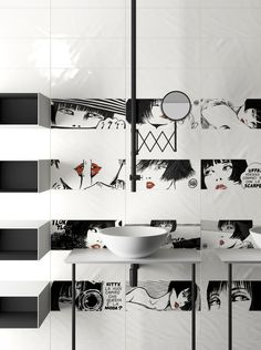 Iconic cartoon character Valentina returns in a glamorous tile collection by Del Conca, featuring classic black and white images, and available in two décors.  Black and white images with flashes o…