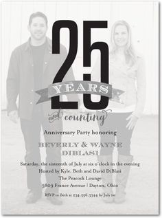 25th wedding anniversary invitations wording classic20black still counting 25 years signature white photo anniversary party invitation picturebook gunmetal stopboris Image collections