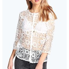 Sadie crochet lace open weave blouse NWT Lovely top - fits small to medium - new with tags - button up front - can be worn open like a cardigan Tops Blouses