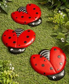 Create an adorable scene in your yard with this Ladybug Garden Decor. Place the Ladybug Crossing Sign x including the ground st Ladybug Garden, Garden Bugs, Garden Crafts, Garden Projects, Garden Stepping Stones, Outdoor Flowers, Rock Painting Designs, Lakeside Collection, Rock Crafts