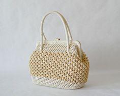 Beautiful écru beaded handbag 50s. Hand by VintagetoFrance on Etsy