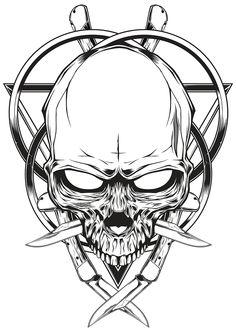 Skull knife illustration on Behance