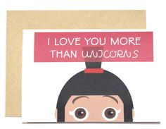 I love you more than unicorns card by CherryOnTopDsgns on Etsy
