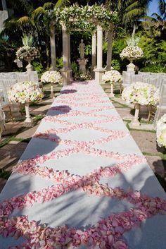 perfect rose petal aisle