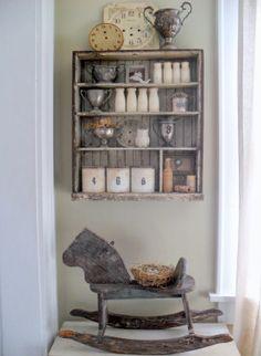 must love junk old rocking horse, shelf