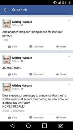 Announcement! One of our senior teacher Akhlaq Hussain account has been hacked. Please ignore the post from his account!