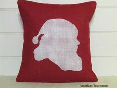 Burlap Pillow Christmas Burlap Pillow by AmericanTradesman on Etsy