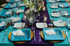 Place setting - turquoise and purple