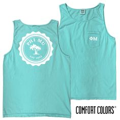 Phi Mu Lagoon Blue Comfort Colors Pocket Tank