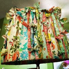 New old lamp shade. #vintage sheet strips tied to an old #lampshade with good bones. #quiltedcupcake | Flickr - Photo Sharing!
