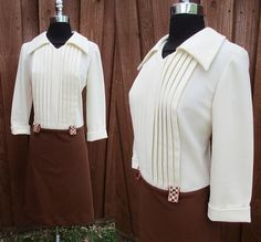 1970s Drop Waist Brown & White Polyester Dress Huge Collar Pleated White Bodice Checked Belt Loops Brown Skirt Sz M/L