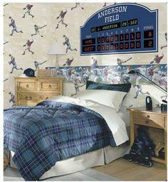Personalized Scoreboard Peel & stick wall mural for Baseball theme boys bedroom