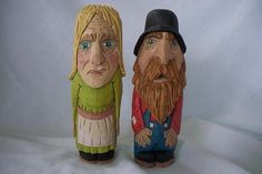 Hill Billy Couple caricature wood carving hand carved by MA Dellinger Wood Carving created for the Everyday people Series BH #5 Ma and Pa