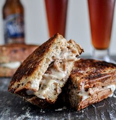 Crockpot Pulled Pork and Beer Cheese Grilled Sandwiches