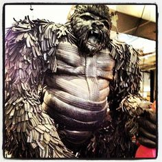 The beast is in the house: Gorilla made of recycled tyres on display at Design Junction, London Tire Art, Garden Tips, Beast, Display, Statue, London, Sculpture, Metal, House
