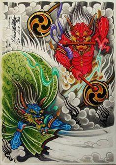 Fabio Bolito in Fujin e Raijin art Gallery by lucs tattoo