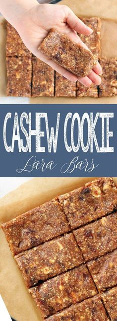 """A healthy, easy recipe for Cashew Cookie """"Lara"""" Bars made with cash. - A healthy, easy recipe for Cashew Cookie """"Lara"""" Bars made with cash. A healthy, easy recipe for Cashew Cookie """"Lara"""" Bars . Date Recipes Healthy, Cashew Recipes, Healthy Protein Snacks, Whole Food Recipes, Snack Recipes, Protein Bars, Easy Recipes, Date Recipes Breakfast, Vegan Snacks"""