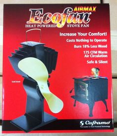 Caframo 812AMBBX ECOFAN AIRMAX HEAT POWERED WOOD STOVE FAN GOLD BLADE  812AM BBX