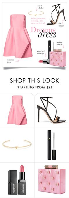 """Dreamy dress"" by taniadeseptembre ❤ liked on Polyvore featuring Halston Heritage, Gianvito Rossi, Jennifer Fisher, Lancôme, Smashbox, Katherine Kwei, Prom, Pink, dress and wedding"
