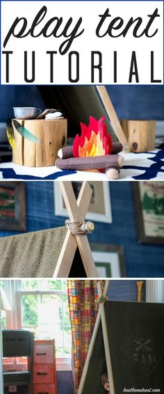 Easy-Breezy Army blanket (or ANY blanket) DIY play tent! Done in less than 1 hour this DIY tent provides HOURS of fun! Perfect, inexpensive addition to your little one's room or playroom! Folds for easy storage, too!! http://www.heatherednest.com