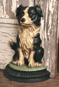 vintage, hyper-vigilant 'border collie', metal doorstop ... from Aerohome.com