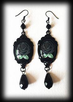 Grey Rose Earrings, Gothic Victorian Earrings, Romantic Gothic Jewelry, Glass Cameo Earrings, Alternative Jewelry, Handmade Earrings by WhisperToTheMoon on Etsy
