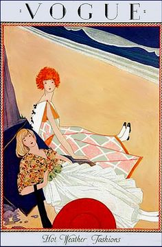 Vogue Cover - July Poster Print Hot Weather Fashions by George Wolfe Plank, at the Condé Nast Collection Two fully-dressed women lounge on the beach in a most civilized manner, pillows and all. George Wolfe Plank's charming summer scene. Vogue Vintage, Vintage Vogue Covers, Art Vintage, Vintage Posters, Retro Posters, Vintage Fashion, Movie Posters, Art Deco Illustration, Fashion Illustration Vintage