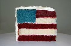 FLAG Layer CAKE * No special pans needed * cake mixes * EASY **