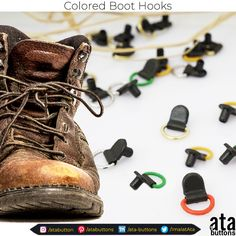 At #atabuttons, in addition to the boot hooks we are currently producing, we have started the production of colored #boot hooks.   #Textile #atabuttons #snapbuttons #prongsnapbuttons #accesorries #textileaccessories #Turkey #bookhooks