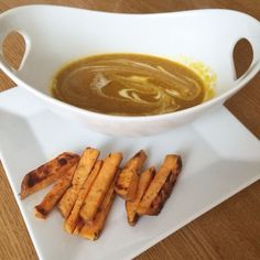 Sweet potato fries and pumpkin soup. Full recipe on www.ina-nuvo.com