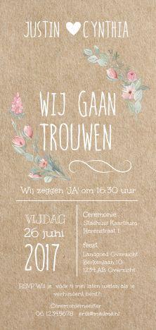 lovz.nl   Romantische trouwkaart met kraft look ondergrond en watercolour bloemen. Alles staat los op dit kaartje en is te bewerken.