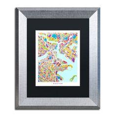 "Trademark Art ""Boston MA Street Map 3"" by Michael Tompsett Framed Graphic Art Size: 14"" H x 11"" W x 0.5"" D"